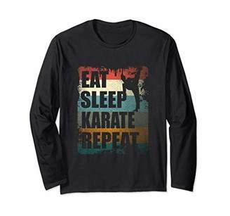 Vintage Eat Sleep Karate Martial Artist Gift Long Sleeve T-Shirt