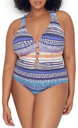 Kenneth Cole Plus Size Closer Together X-Back One-Piece