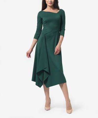 LADA LUCCI Women's Casual Dresses Green - Green Asymmetric Midi Dress - Women & Plus
