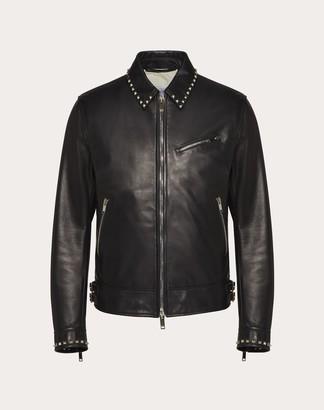 Valentino Rockstud Leather Jacket Man Black Lambskin 100% 46
