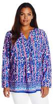 Caribbean Joe Women's Plus Size Poly Crepe Shirting