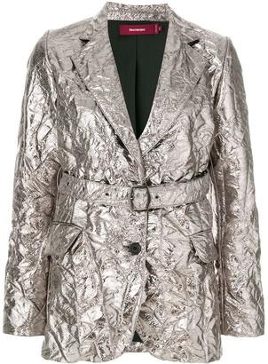 Sies Marjan Textured Metallic Belted Blazer