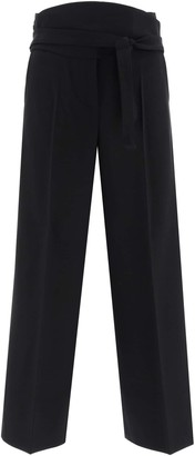 Max Mara ALBINO TROUSERS SASH BELT 40 Black Wool
