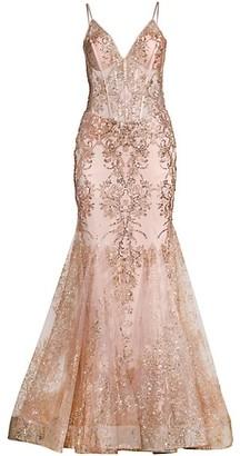 Jovani Embellished Lace Trumpet Gown