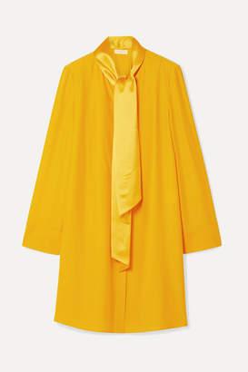 Tory Burch Sophia Pussy-bow Satin-trimmed Silk-crepe Mini Dress - Gold