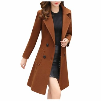 Toamen Women Womens Coat Sale Toamen Lapel Button Down Faux Wool Long Trench Jacket