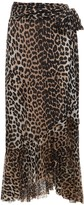 Thumbnail for your product : Ganni Leopard Printed Mesh Warp Midi Skirt