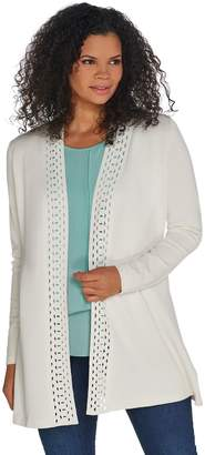 Dennis Basso Sweater Cardigan w/ Cut-Out Detail