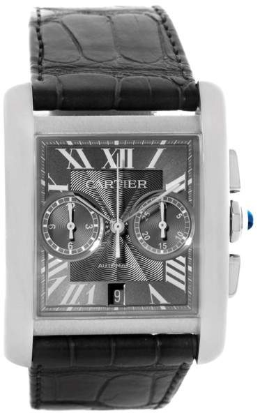 Cartier Tank MC W5330008 Stainless Steel Automatic Grey Dial 34.3mm Mens Watch
