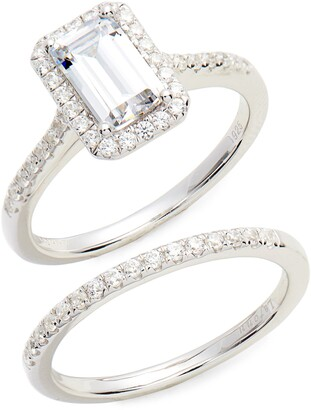 Lafonn Emerald Cut Halo Engagement Ring & Wedding Band Set