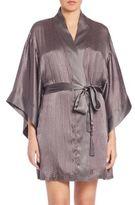 Josie Natori Textured Silk-Blend Wrap Robe