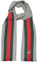 Gucci Bee-embroidered wool-blend scarf