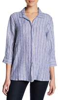 Foxcroft Linen Stripe Shirt (Petite)