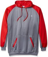 Russell Athletic Men's Big and Tall Performance Fleece Hoodie Sweatshirt, Charcoal/Red, 5X