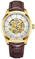 Rotary Gold 'skeleton' Brown Leather Watch Gs05035/03