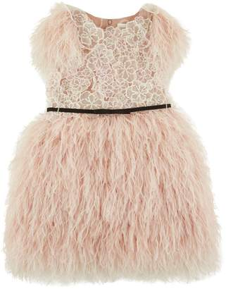 Mischka Aoki Feather Skirt Floral Dress