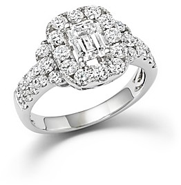 Bloomingdale's Emerald Cut Diamond Engagement Ring in 18K White Gold, 2.20 ct. t.w. - 100% Exclusive