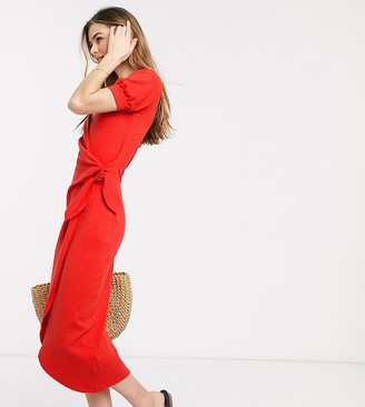 Asos Tall ASOS DESIGN Tall wrap midi dress with knot front in red