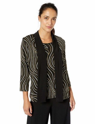 Alfred Dunner Women's Petite Metallic Swirl Print Twofer with Removable Necklace Blouse