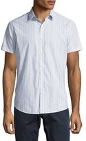 Theory Zack S. Linen-Cotton Multi-Stripe Short-Sleeve Sport Shirt, Blue