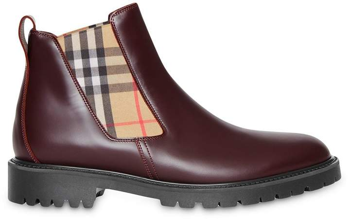 3be95bed11a Vintage Check Detail Leather Chelsea Boots