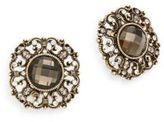 Heidi Daus More Than A Dream Swarovski Crystal Button Earrings/Goldtone