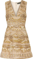 Alice + Olivia Patty Embellished Silk-chiffon Mini Dress - Gold