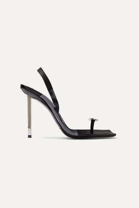 Alexander Wang Kaia Crystal-embellished Pvc And Leather Slingback Sandals - Black