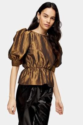 Topshop Womens Gold Short Sleeve Puff Taffeta Blouse - Gold