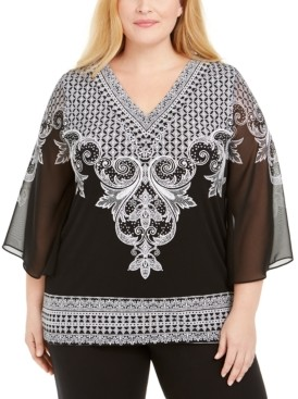 JM Collection Plus Size Chiffon-Sleeve Tunic, Created for Macy's