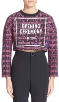Opening Ceremony Women's Currency Print Cropped Sweatshirt