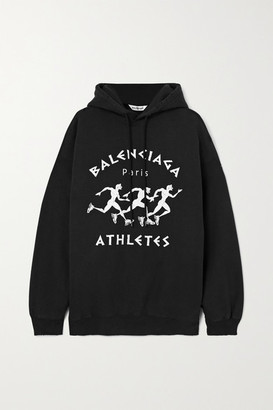 Balenciaga Oversized Distressed Printed Cotton-jersey Hoodie