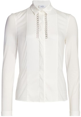 Akris Punto Chain Inset Collared Blouse