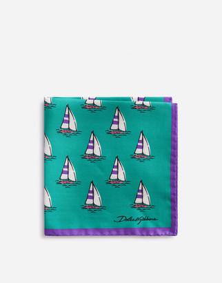 Dolce & Gabbana Pocket Square In Boat Print Silk