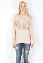 Torn By Ronny Kobo Lola Fringe Shirt in Beige