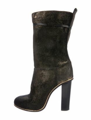 Lanvin Calf Hair Tassel Accents Boots Black