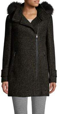 Calvin Klein Faux Fur Hooded Wool-Blend Coat