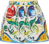 Dolce & Gabbana Printed Cotton-poplin Shorts - Yellow
