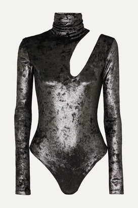 Alix Nyc Alix NYC - Houston Cutout Metallic Stretch-knit Turtleneck Thong Bodysuit - Black