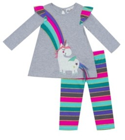 Rare Editions Baby Girls 2-Pc. Unicorn Top & Striped Leggings Set