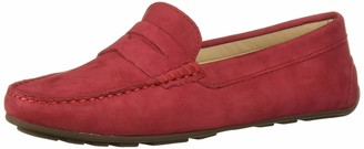 Driver Club USA Women's Leather Made in Brazil Naples 2.0 Penny Driver Moc Loafer Red Nubuck 8.5 M US
