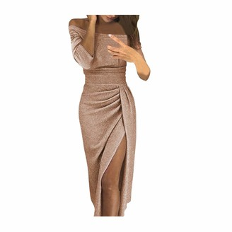 Tosonse Bodycon Off Shoulder Dresses for Women Party Night Sexy High Slit Maxi Dress