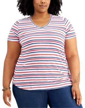 Style&Co. Style & Co Plus Size Striped T-Shirt, Created for Macy's