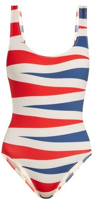 Solid & Striped The Anne Marie Backgammon Print Swimsuit - Womens - Red Multi