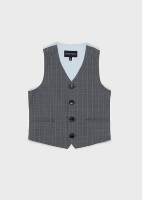 Emporio Armani Single-Breasted Waistcoat In Prince Of Wales Fabric