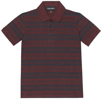 Emporio Armani Kids Striped cotton polo shirt