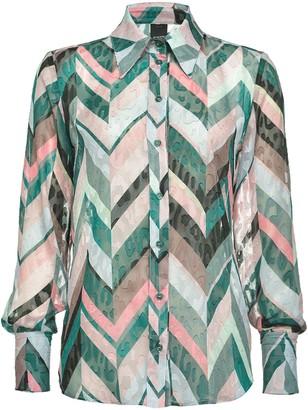 Pinko Leopard-Jacquard Chevron-Print Shirt