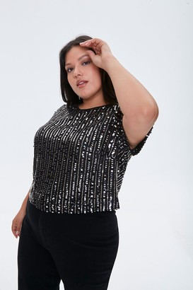 Forever 21 Plus Size Sequin Striped Top