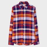 Paul Smith Men's Tailored-Fit Damson Large-Check Linen-Blend Shirt