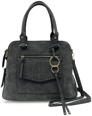 Violet Ray Whipstitched Triple Compartment Satchel - Logan